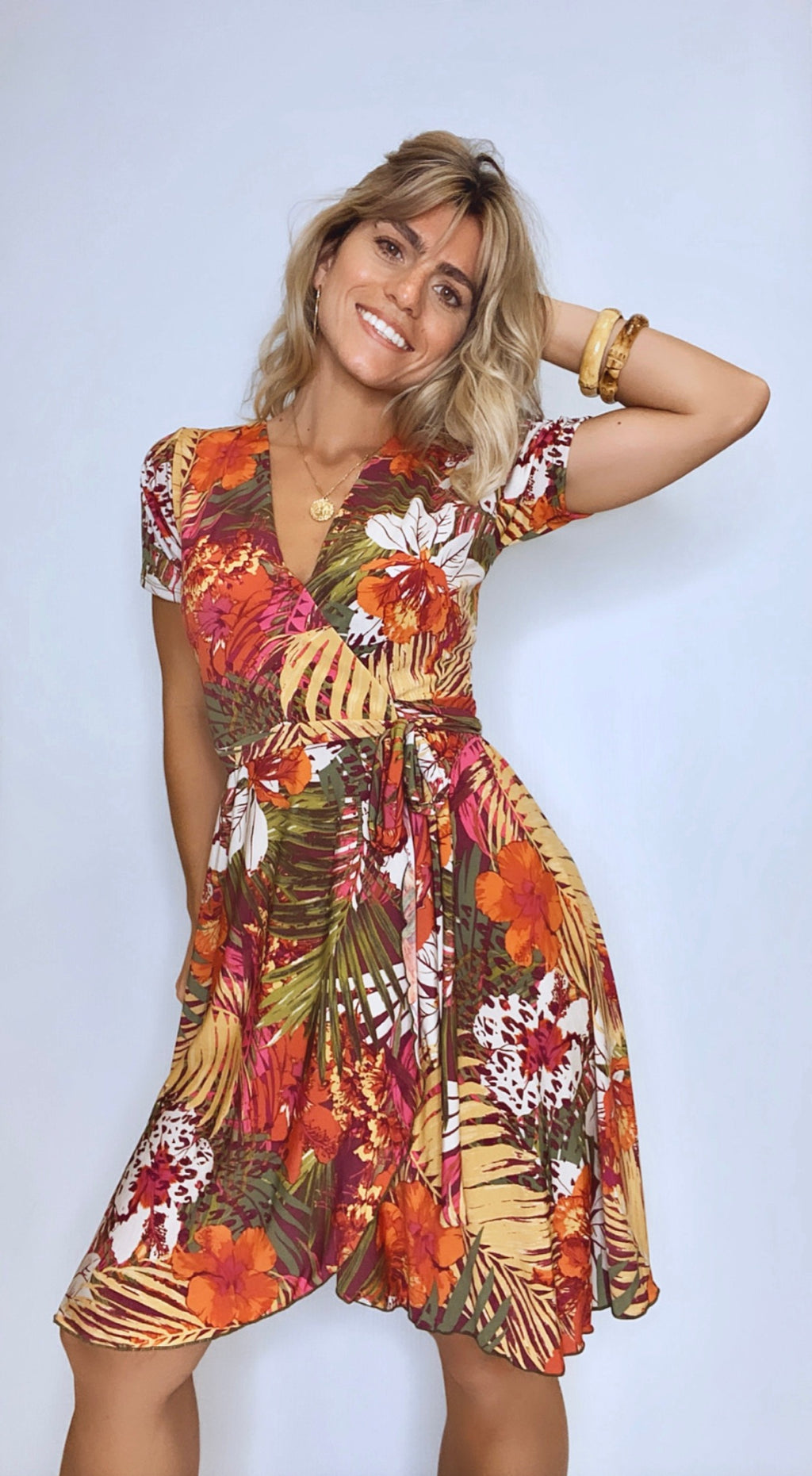 Pia Tropical Fall Wrap Dress