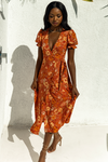 Holly Wrap Dress Rust Floral