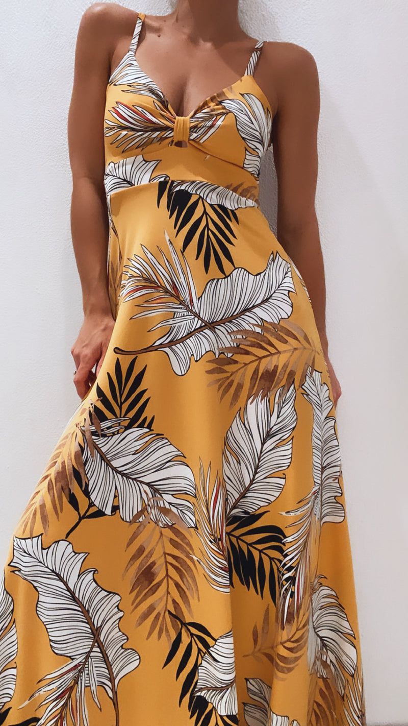 Pía Yellow Leaf Maxi Dress