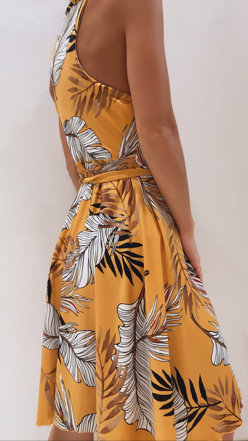 Pía Yellow Leaf Wrap Dress