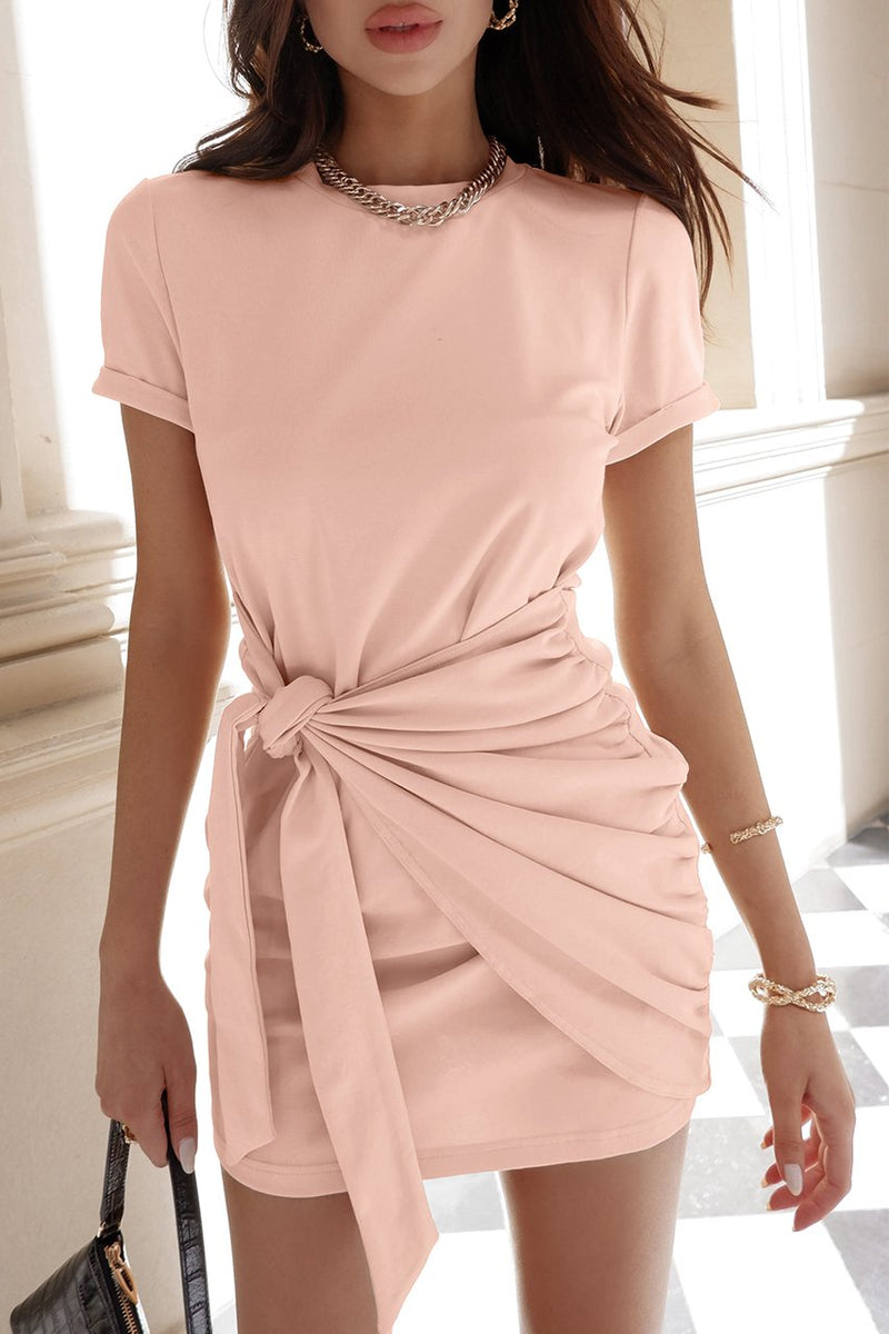 Pink Tied Up Shirt Dress