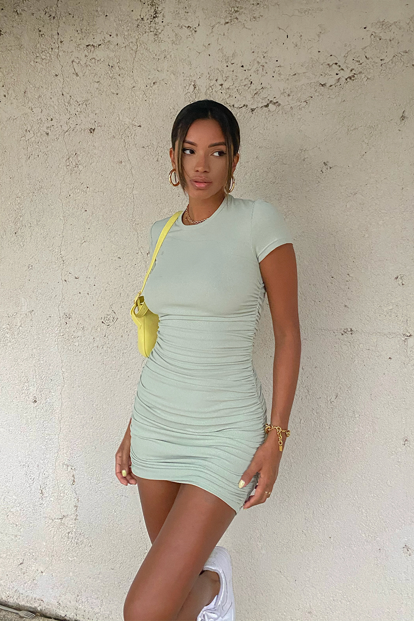 Pistachio Ruched Dress