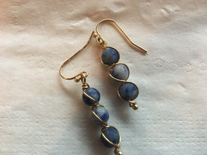 3 Drop Earrings- Denim