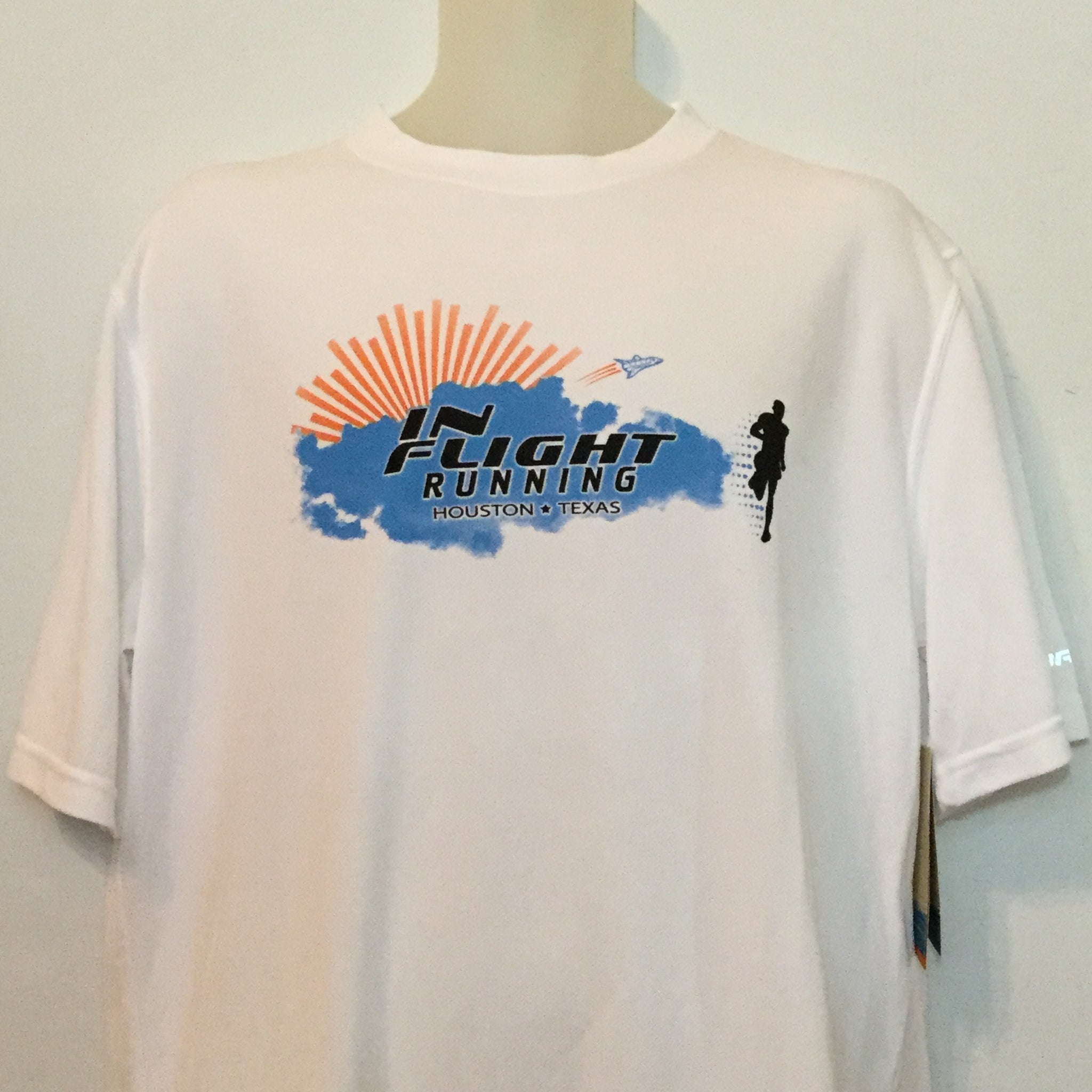 2010-11 In Flight Running Men's Team T -  Brooks Short Sleeve Dry Fit - Space Shuttle - White