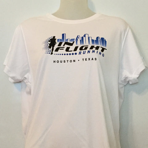 2008-09 In Flight Running Women's Team T -  Brooks Short Sleeve Dry Fit - Htown Skyline - White