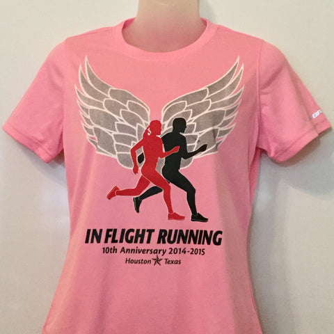2014-15 In Flight Running Women's Team T -  Brooks Short Sleeve Dry Fit - Winged Runners - Pink