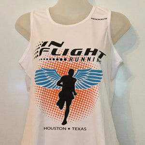 2011-12 In Flight Running Women's Team Tank -  Brooks Dry Fit - Winged Runner - White
