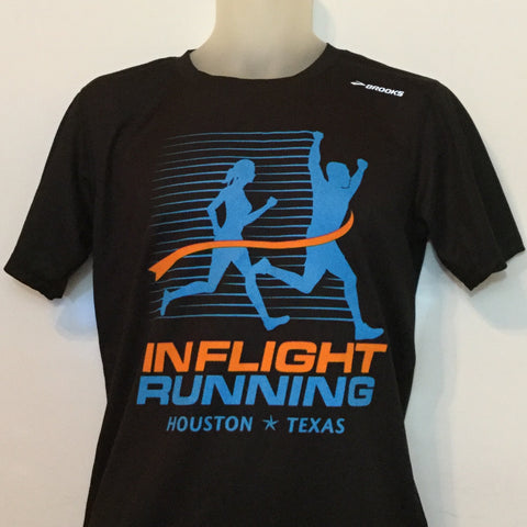 2016-17 In Flight Running Men's Team T-shirt - Brooks Short Sleeve Dry Fit - Black