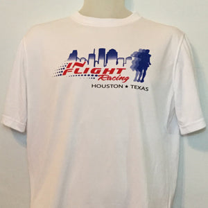2009 In Flight Running Men's Racing Team T -  Brooks Short Sleeve Dry Fit - Htown Skyline - White