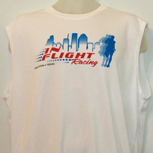2009 In Flight Running Men's Spring Racing Team T -  Asics Sleeveless Dry Fit - Htown Skyline - White
