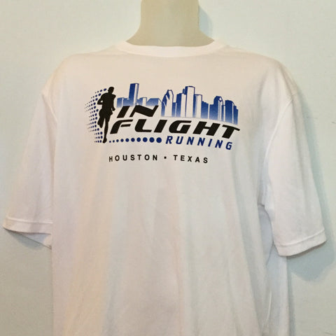 2008-09 In Flight Running Men's Team T -  Brooks Short Sleeve Dry Fit - Htown Skyline - White