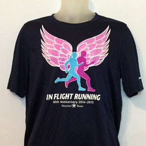 2014-15 In Flight Running Men's Team T -  Brooks Short Sleeve Dry Fit - Winged Runners - Navy
