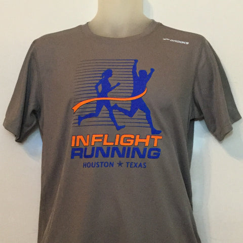 2015-16 In Flight Running Men's Team T -  Brooks Short Sleeve Dry Fit - New Logo - Gray