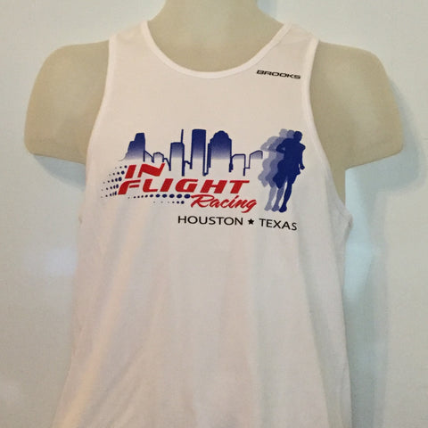 2009 In Flight Running Men's Racing Team Tank -  Brooks Dry Fit - Htown Skyline - White