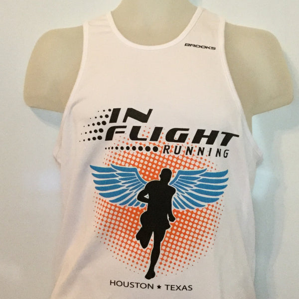 2011-12 In Flight Running Men's Team Tank -  Brooks Dry Fit - Winged Runner - White