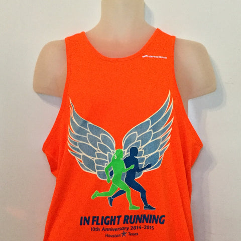 2014-15 In Flight Running Men's Team Tank -  Brooks Dry Fit - Winged Runners - Orange Crush