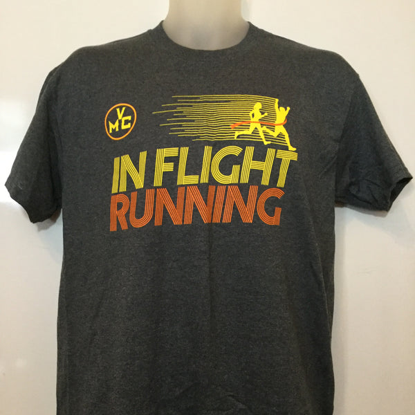 In Flight Running - Gildan Unisex Dark Heather Gray T-shirt - 50/50