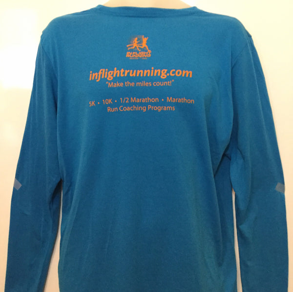 2017-18 In Flight Running Gildan Unisex Sapphire Blue Long Sleeve T-shirt - Dry Fit