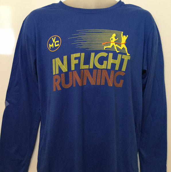 2017-18 In Flight Running Gildan Unisex Royal Blue Long Sleeve T-shirt - Dry Fit