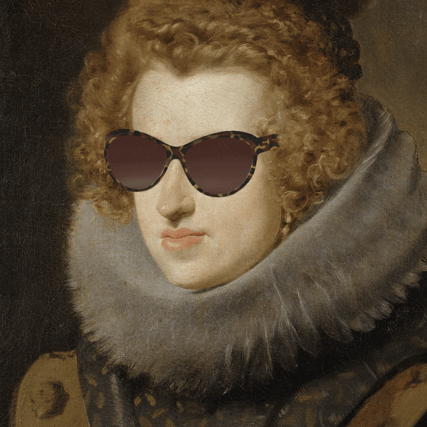 Contemporary Wall Art - Sun glasses on old art portrait