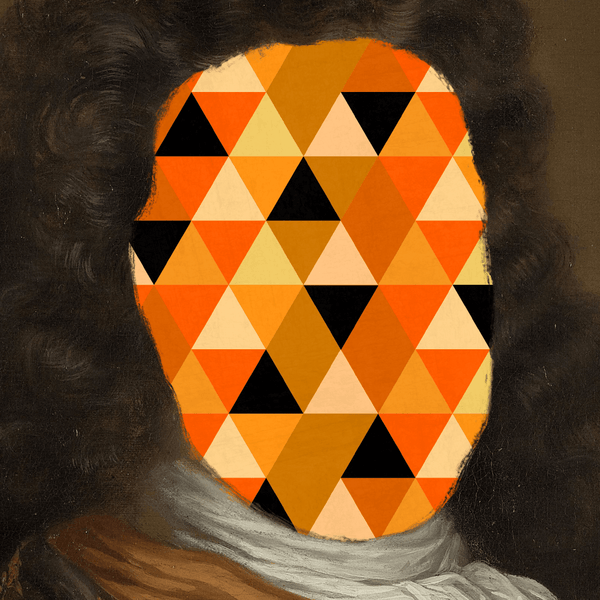 Eccentric Modern Abstract Canvas Print with orange and mustard triangle pattern