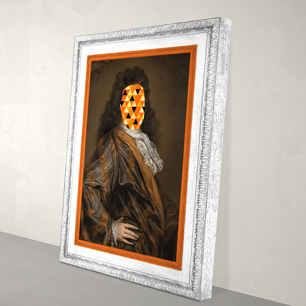 Eccentric Modern Abstract Canvas Print - White frame with orange paint detail