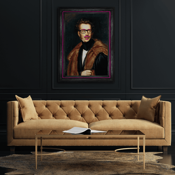 Duke Cool - Large Canvas Print above sofa in living room with black walls