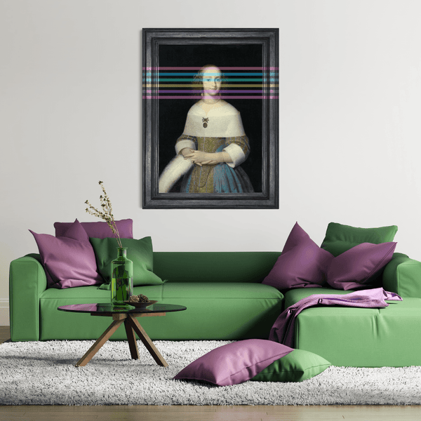 Little Princess | Large Canvas Artwork for white walls and green sofa