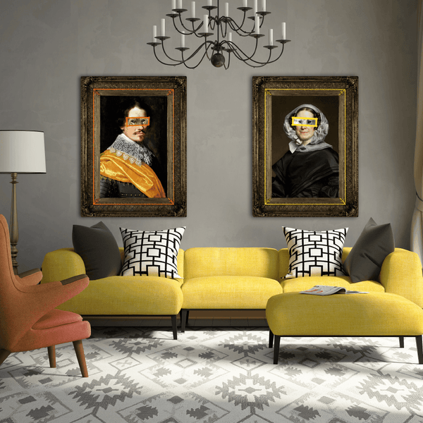 Grandma Wolf - Modern Living Room Art - Grey Walls, Yellow Sofa, Orange Chair