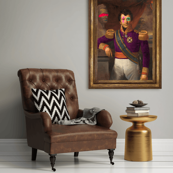 """The Galvanised Governor"" - Eclectic and Electric Art Piece for Modern Room - Brown Chair Golden Table"