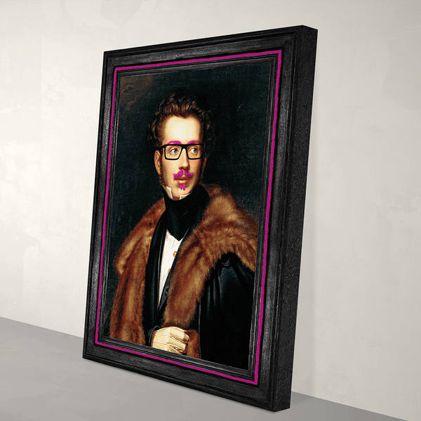Eclectic Canvas Art Print - Duke Cool - Hot Pink and Black