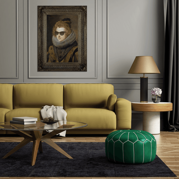 Large Wall Art - Modern Living Room Decor Ideas - Yellow Sofa, Grey Walls, Green Poof Foot stall