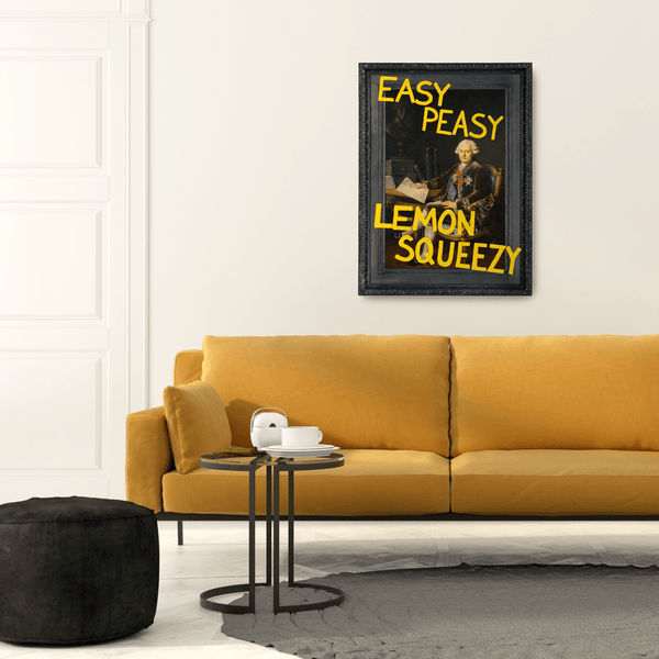White Wall Yellow Sofa - Wall Art