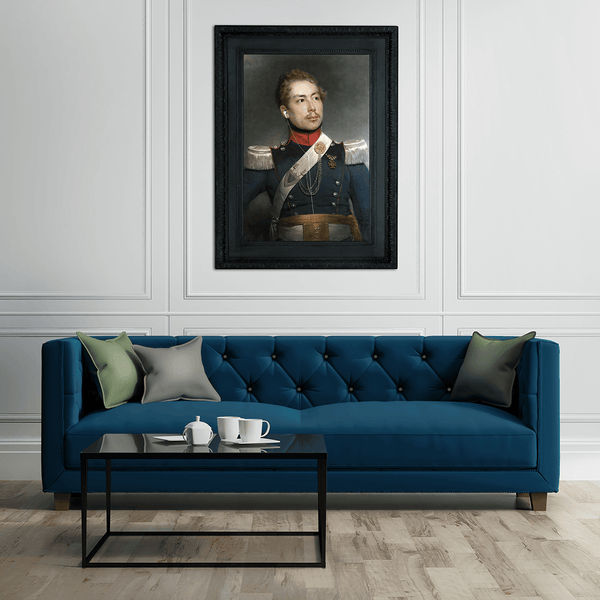 """Major MP3"" - Deafced Fine Art Print - Modern Living Room white walls blue sofa"
