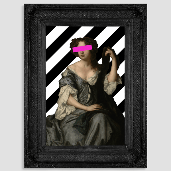 Black frame with pink art