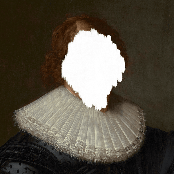 Defaced Portrait of a Man - Canvas Print