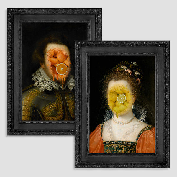 Lady Lemon and Lord L'Orange Canvas Print Pair