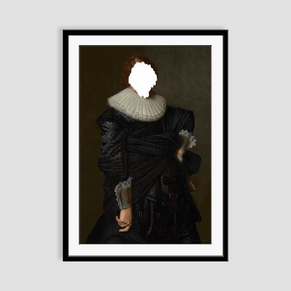 Defaced Portrait of a Man - Framed Print