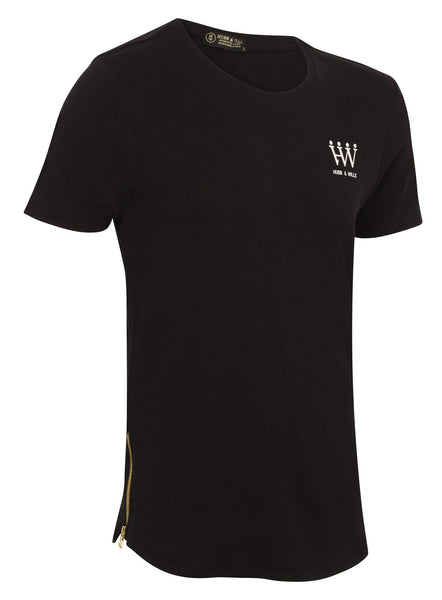 Hubb & Wills Curved Hem Gold Zipper T-Shirt - Black