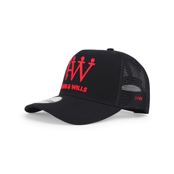 Hubb and Wills Black/Red Trucker Hat