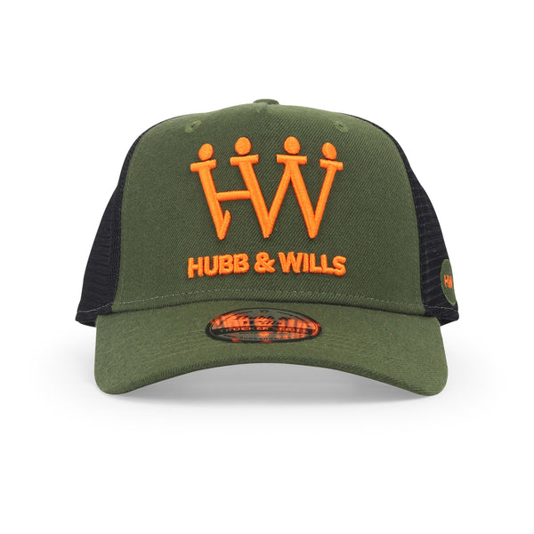 Hubb and Wills Army Green/Orange Trucker Hat