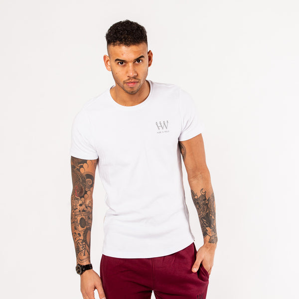 Hubb & Wills Curved Hem Gold Zipper T-shirt - White