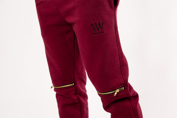 Hubb & Wills Zip Fleece Jogger - Burgundy