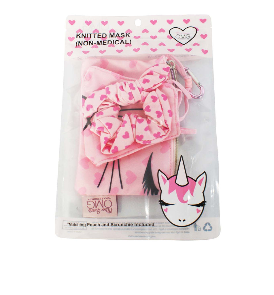 Miss Bella the Kitty Heart Print Face Mask, Pouch and Scrunchies Set (Final Sale Item)
