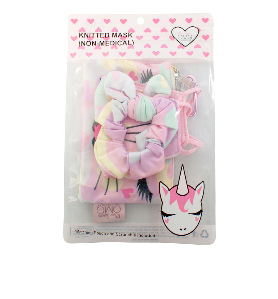 Miss Bella the Kitty Camo Print Face Mask, Pouch and Scrunchies Set (Final Sale Item)