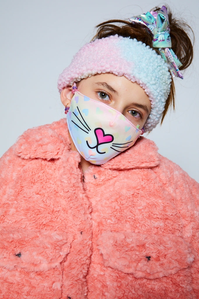 Miss Bella the Kitty Icon Ombre Heart Print Face Mask (Final Sale Item)