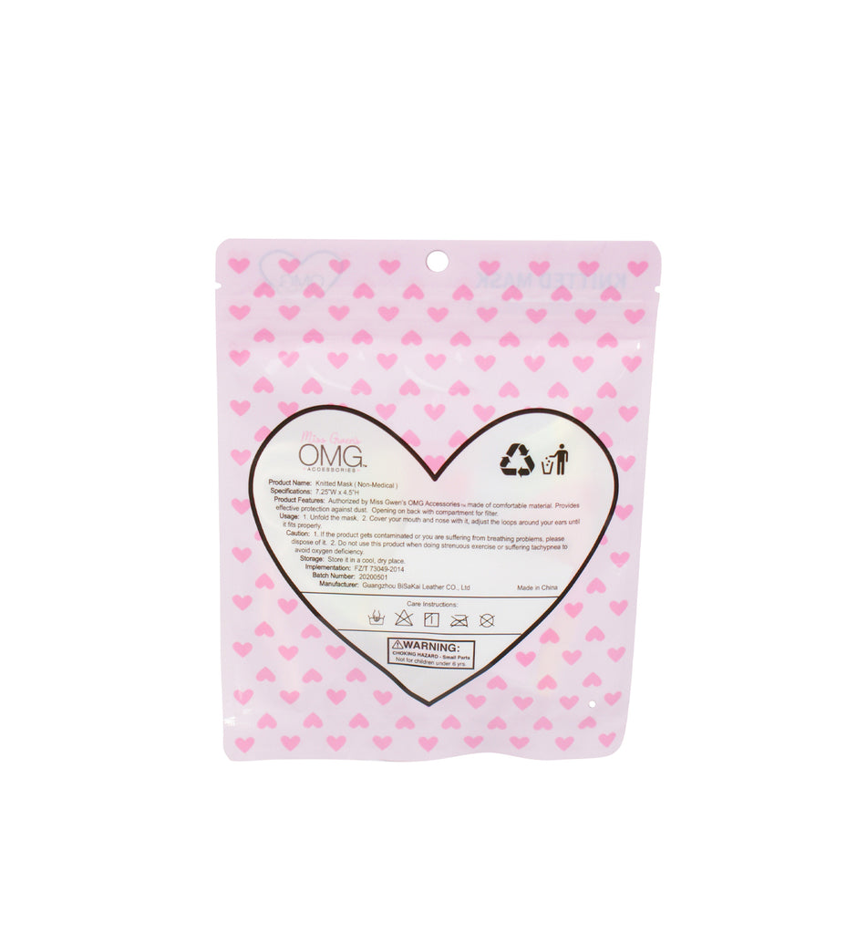 Love Heart Print Face Mask (Final Sale Item)