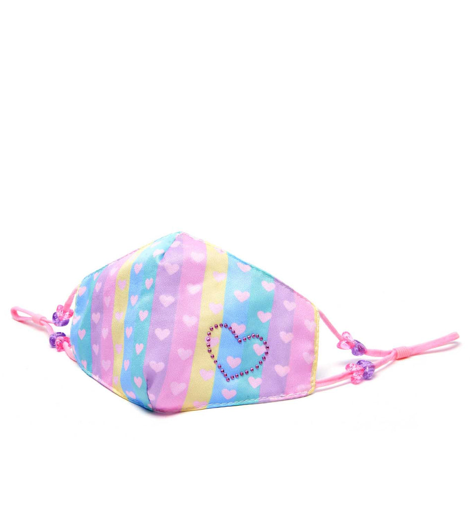 Striped Ombre Hearts Print Face Mask (Final Sale Item)