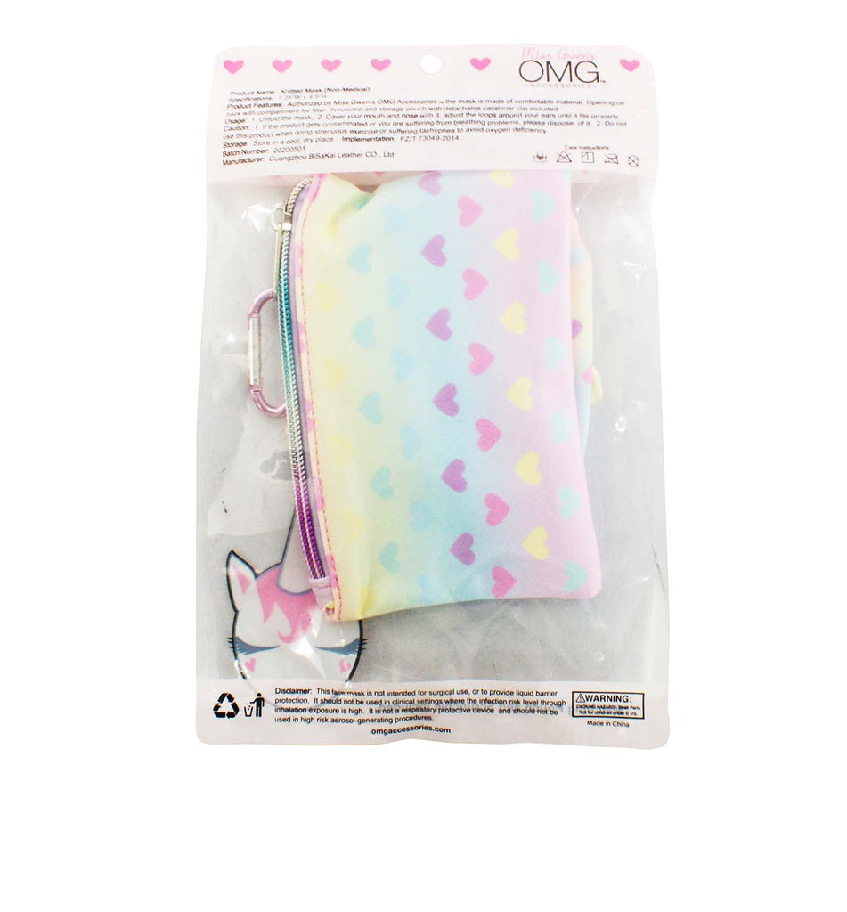 Love Ombre Heart Print Face Mask, Pouch and Scrunchies Set (Final Sale Item)