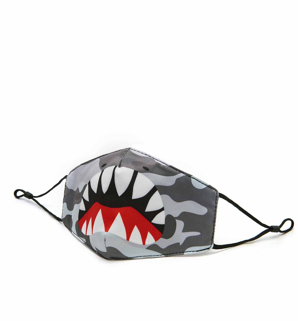 Shark Bite Grey Camo Face Mask (final sale item)
